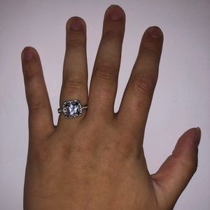 Jewelry: Large Silver Square Faux Diamond Ring
